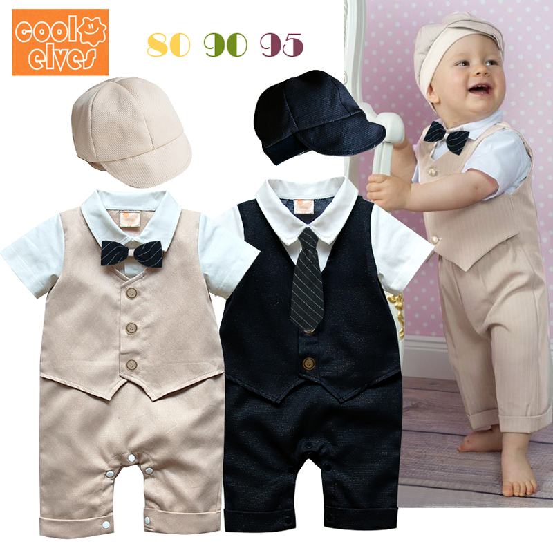 Baby boys short sleeve cotton rompers +hat set summer fashion gentleman jumpers infant bow /tie overalls newborns clothes 17J701