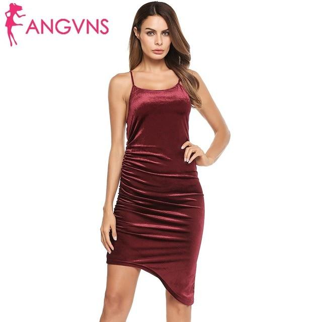 8e80dffddb1f ANGVNS Burgundy Ruched Cami Dress Asymmetrical Strappy Formal Sexy Sheath  Dress Slim Club Wear Party Vestidos Bodycon Mini Dress