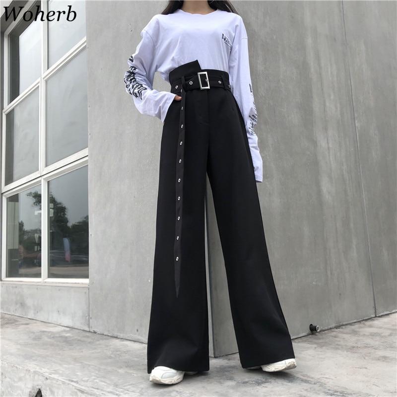 Woherb 2019 Korean Black   Wide     Leg     Pants   Women Casual High Waist   Pant   Streetwear Loose Trousers Womens Pantalon Femme 21214