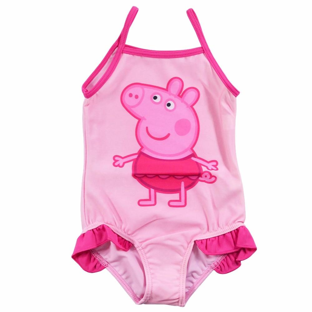 2017 Summer Baby Swimsuit Girl One Piece Striped Peppa Pig Bikini Swimwear Cute Baby Swimsuits Children Beach Swim Bathing Suit peppa pig george and the noisy baby pb
