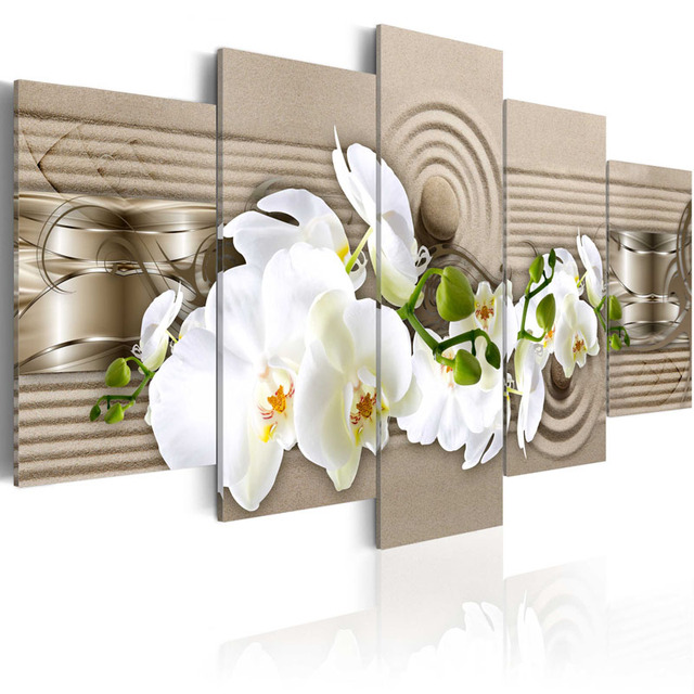 Framed 5 Piece Picture Abstract Flower Series Canvas Art Print Oil