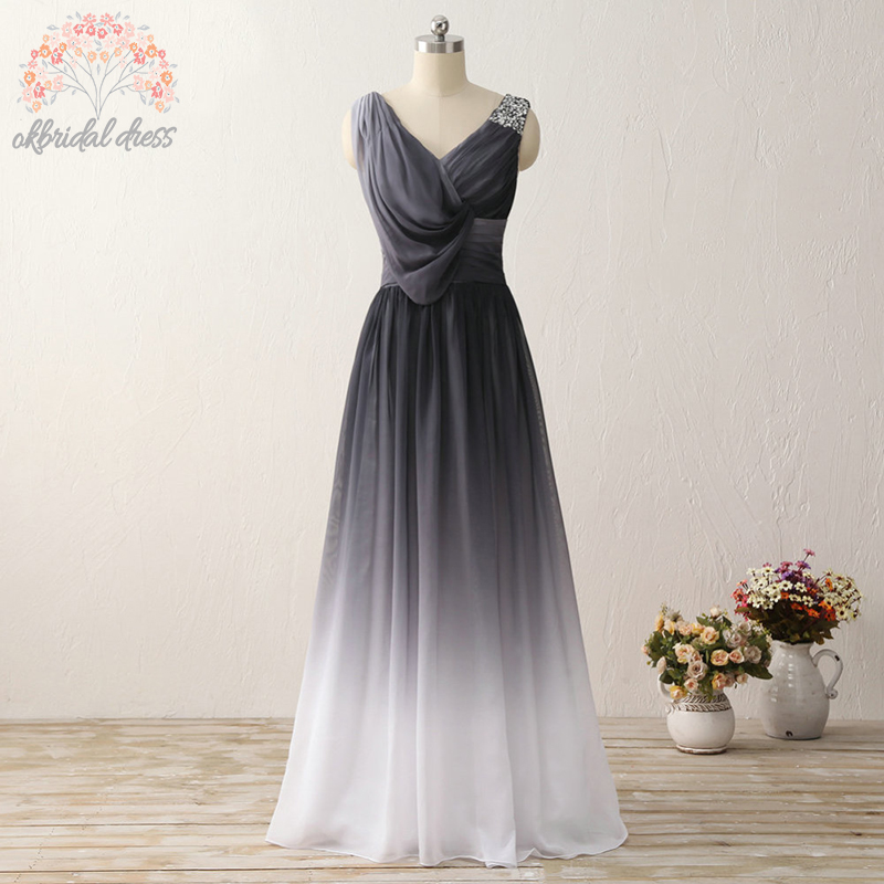 Black to white ombre prom dress