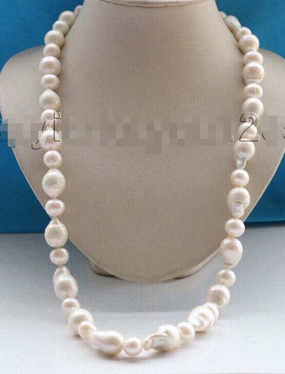 29 натуральный 22 мм белый круглый Кеши зерновой жемчуг ожерелье 14KGP # f1767!
