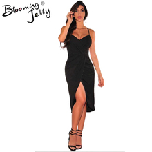 Blooming Jelly Adjustable Spaghetti Strap V Neck Sexy Club Dress 2016 Wrap High Low Dress Party Black Open Leg Dress Ruched