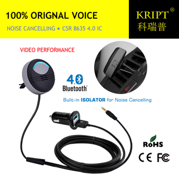цена на Noise Cancelling AUX Handsfree Bluetooth Car Kit Built in Isolated IC with FCC CE RoHS