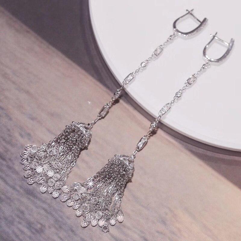 Designer mode 925 bijoux en argent Sterling 3A cubique zircone fête boucle d'oreille-in Pendentifs from Bijoux et Accessoires    3