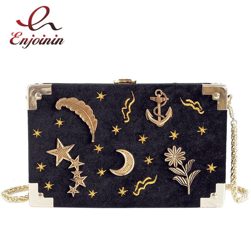 Черный вельвет металлический значок в поле формы женские вечерние Клатч Сеть Кошелек мини-сумка Сумка Crossbody сумка