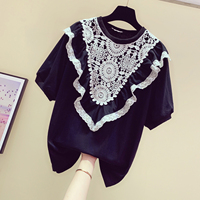 2019 Summer New Retro Korean T Shirt Ladies Lace Hollow Out Stitching Short Sleeve T shirt Womans T shirts Female Loose Tshirts