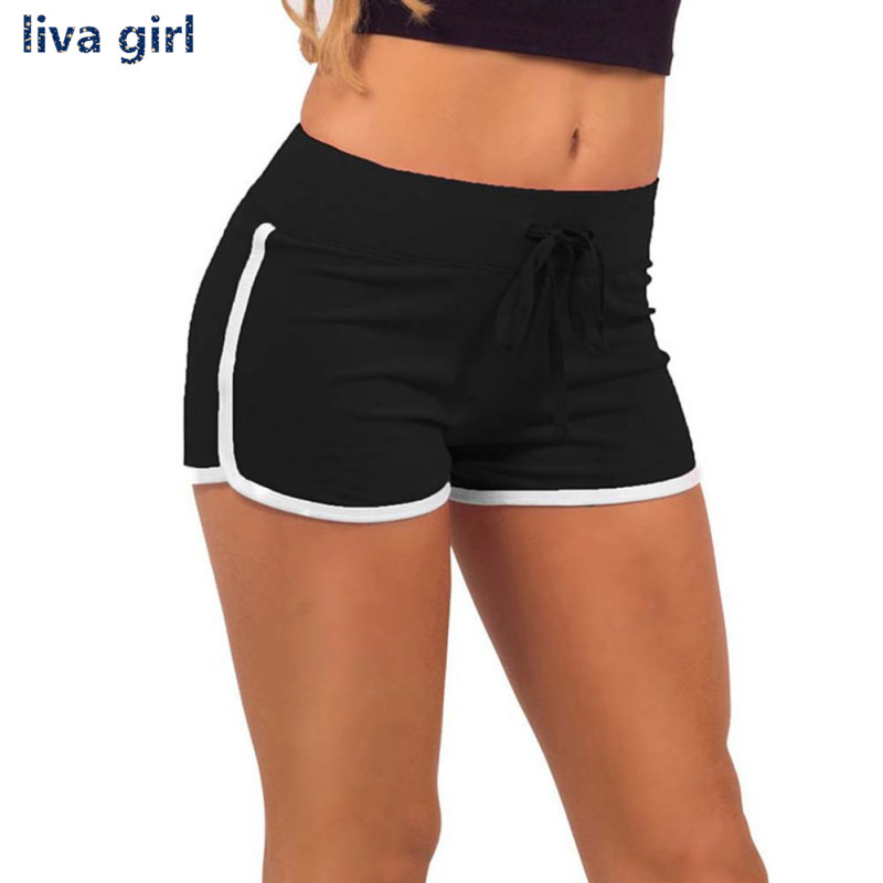 Yo-Ga Drawstring   Shorts   Women Casual Loose Cotton Contrast BindingSide Split Elastic Waist   Short   pants