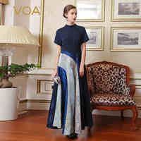 VOA Silk Special Design Classic Stitching Women Party Dresses Short Sleeves O Neck Vintage Enegant A