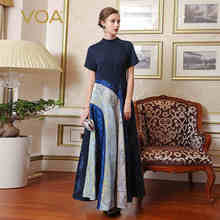 VOA Silk Special Design Classic Stitching Women Party Dresses Short Sleeves O-Neck Vintage Enegant A-Line Patchwork Maxi A7757