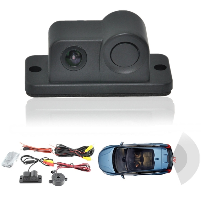 Car Video Parking Camera Sensor Rear view camera + 2 Sensors Indicator Bi Bi Alarm Auto Reverse Backup Radar Assistance