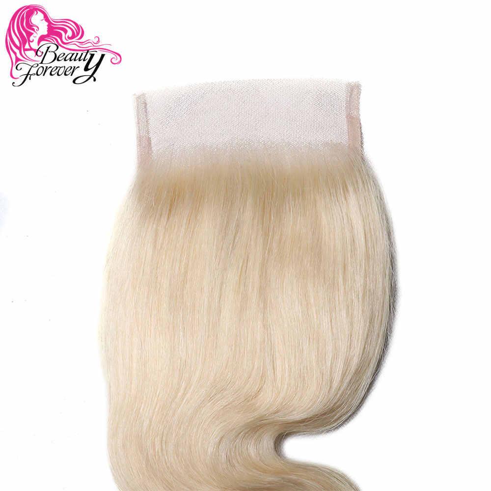 Beauty forever Body Wave 4*4 кружевная Застежка #613 Омбре бразильские косички пучки с закрытием бесплатная часть Remy человеческие волосы