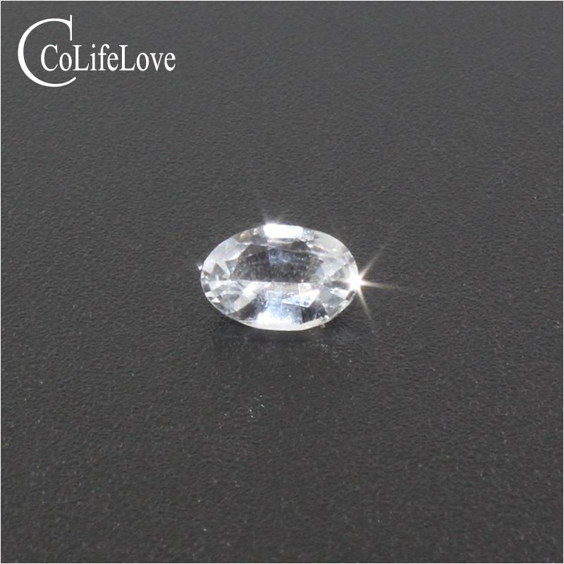 100% real natural white sapphire loose gemstone 4 mm * 6 mm VS grade white sapphire gemstone for jewelry maker