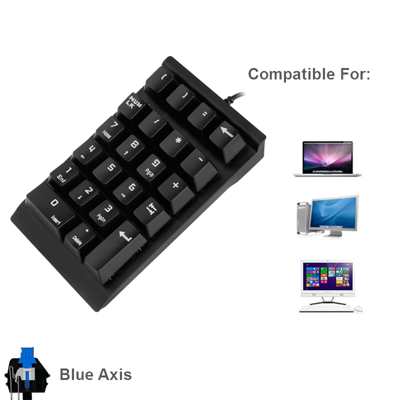 USB Mini Mechanical Numeric Keyboard Keypad For MacBook Air Numeric Keypad  Digtal Keyboard For Laptop Notebook Desktop PC