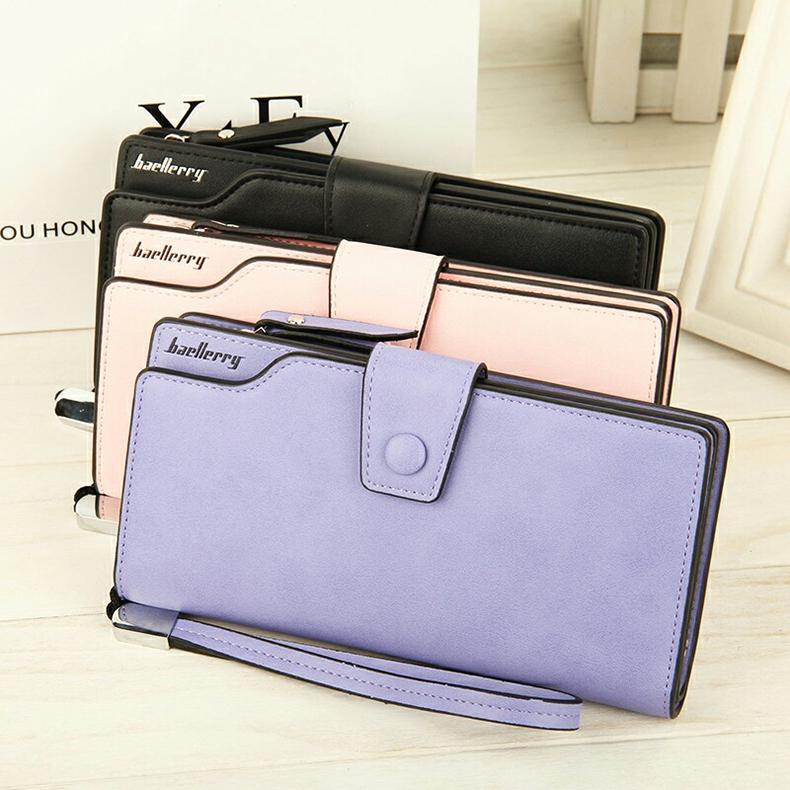 2018 New Wallet Split Leather Wallets Female Long Wallet Women Zipper Purse Money Bag pink one size 5