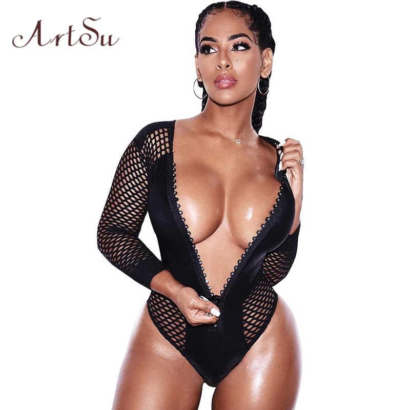 ArtSu Sexy Black Hollow Out Mesh Slanke Bodysuit Vrouwen Strand Lange Mouw 2018 Zomer Body V-hals Rits Jumpsuit Romper ASJU50127