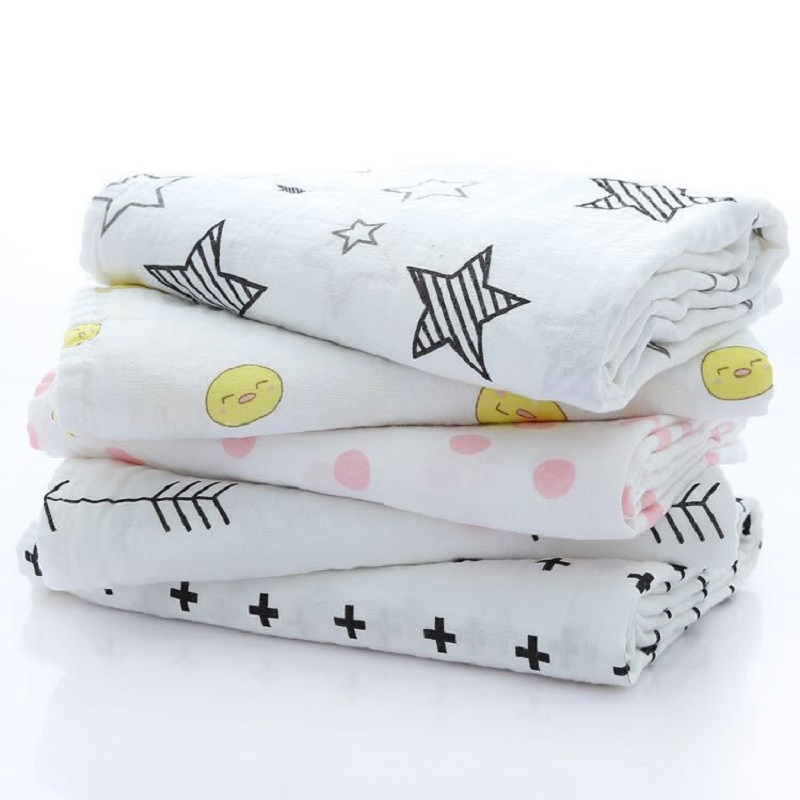Muslin Newborn Baby Blankets Children Cotton Soft Supplies Infant Baby Multifunctional Wrap Swaddle 2 layers Gauze Bath Towel