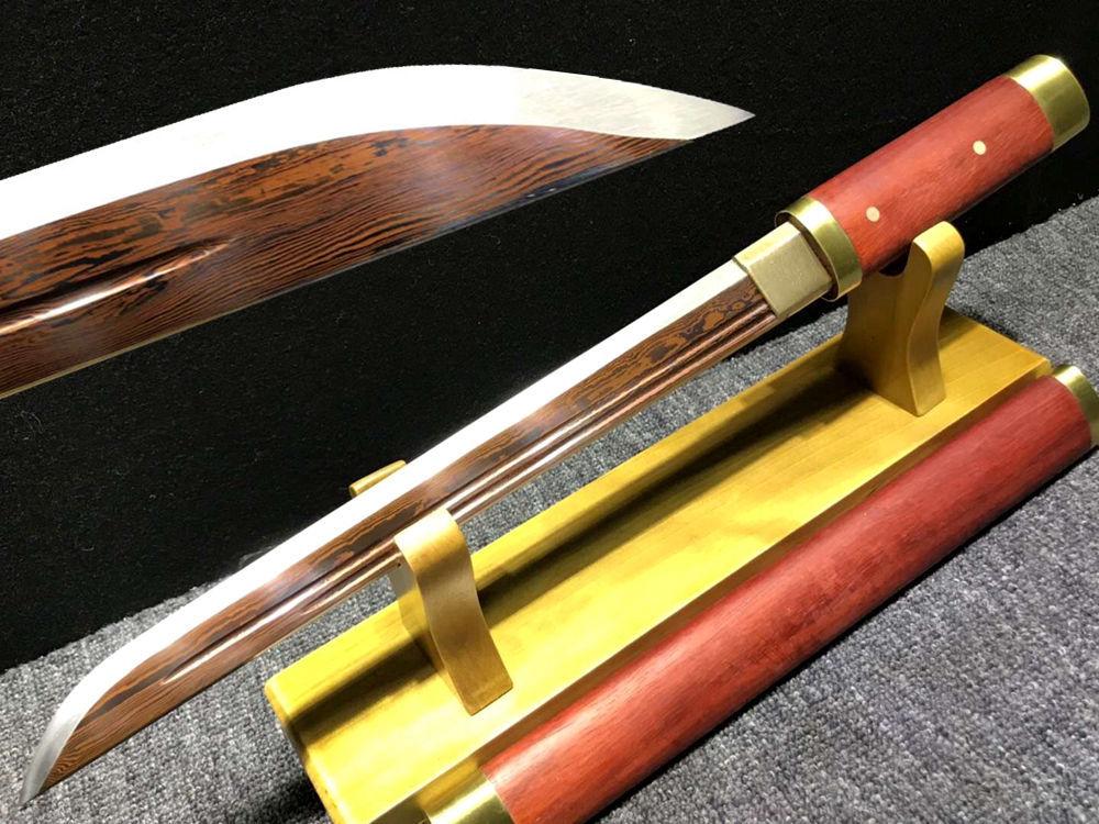 Attento Sequoia Saya Giappone Wakizashi Spada Samurai Katana Pieno Tang Lama In Acciaio Di Damasco Rosso Ninja Reale Sharp Breve Dao Spade