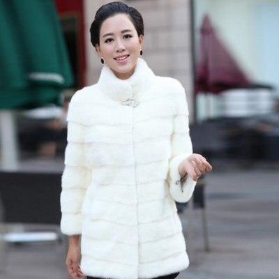 Faux Élégante white Bouton D'hiver Blanc Strass Manteau Black Femmes Long Veste 2018 Vison De Noir Artificielle Femme Longue Chaud Fourrure wAnRBgxI