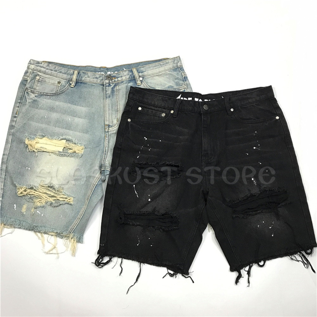 Spray Paint Vintage Black/Blue Shorts High Quality Hiphop Skateboarder Ripped Jeans Shorts Free Shipping