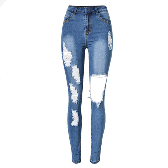 eb19e455e38 High Elasticity Sexy Woman Distressed Jeans Plus Size Women Denim Pants  Holes Destroyed Knee Pencil Jeans Ripped Jeans ZIH025