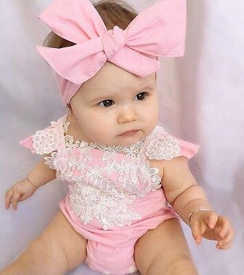 2 PCS Newborn Infant Baby Girls sleeveless Rompers Lace Floral Jumpsuit Playsuit Outfits Sunsuit 2 PCS Newborn Infant Baby Girls sleeveless Rompers Lace Floral Jumpsuit Playsuit Outfits Sunsuit