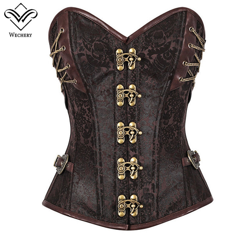 Wechery Women Sexy Vintage Steel Boned   Corset   Punk Brown Printed   Bustier   Steampunk Gothic   Corsets   With Buckle Lacing Up Party