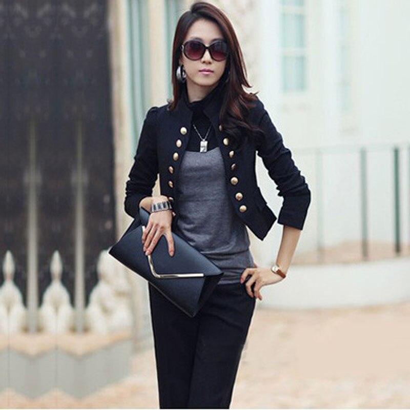 Ladies Long Sleeve Slim Short Jacket Outerwear Casual Fall Women ...