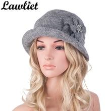 여성을위한 겨울 모자 1920 년대 개츠비 스타일의 꽃 따뜻한 양모 베레모 겨울 모자 숙녀 Beanies 교회 모자 Cloche Bonnet Fedoras A299