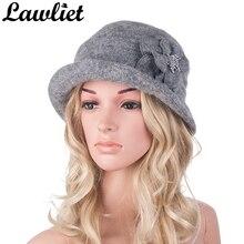 Chapeau dhiver en laine chaude Style Gatsby pour femmes, béret en fleur, Bonnet dhiver pour dames, bérets déglise, clochette, fedora A299
