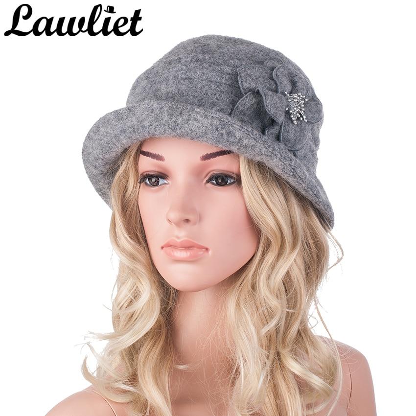 Sombrero de invierno para mujer Gatsby estilo 1920 Flor de lana caliente Boina de invierno Gorro para mujer Gorros de iglesia Sombrero Cloche Bonnet Femme Fedoras