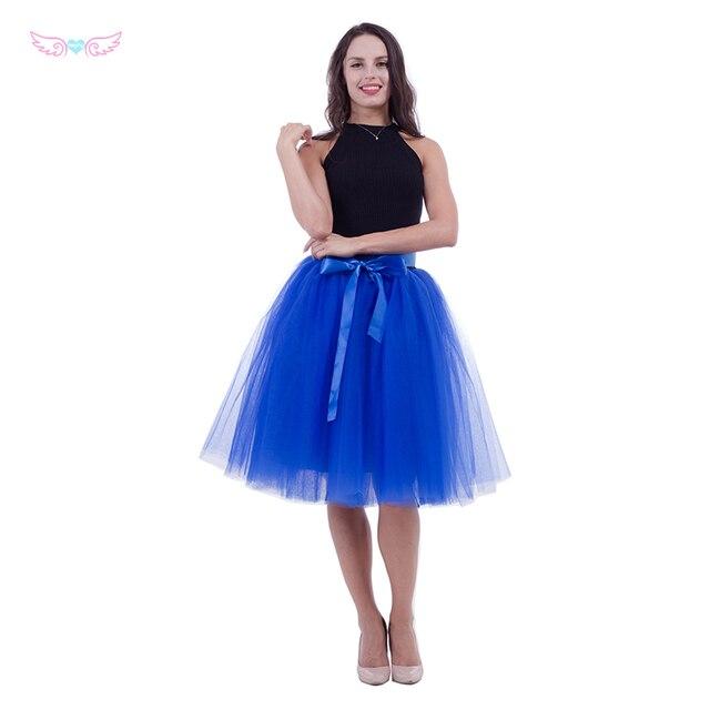 women rolay blue tulle skirt adult tutu 7 layer tulle skirt bridal shower tutu dance