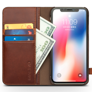 Image 3 - QIALINO Genuine Leather Phone Case for iPhone X Handmade Luxury Ultra Slim Wallet Card Slot Button Bag Flip Cover for iPhone X