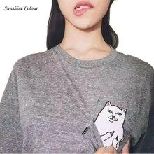 2016 New Men Women Fashion Ripndip T-shirts skateboard pocket cat T shirt Hip hop Brand Clothing Top Harajuku Couple tee