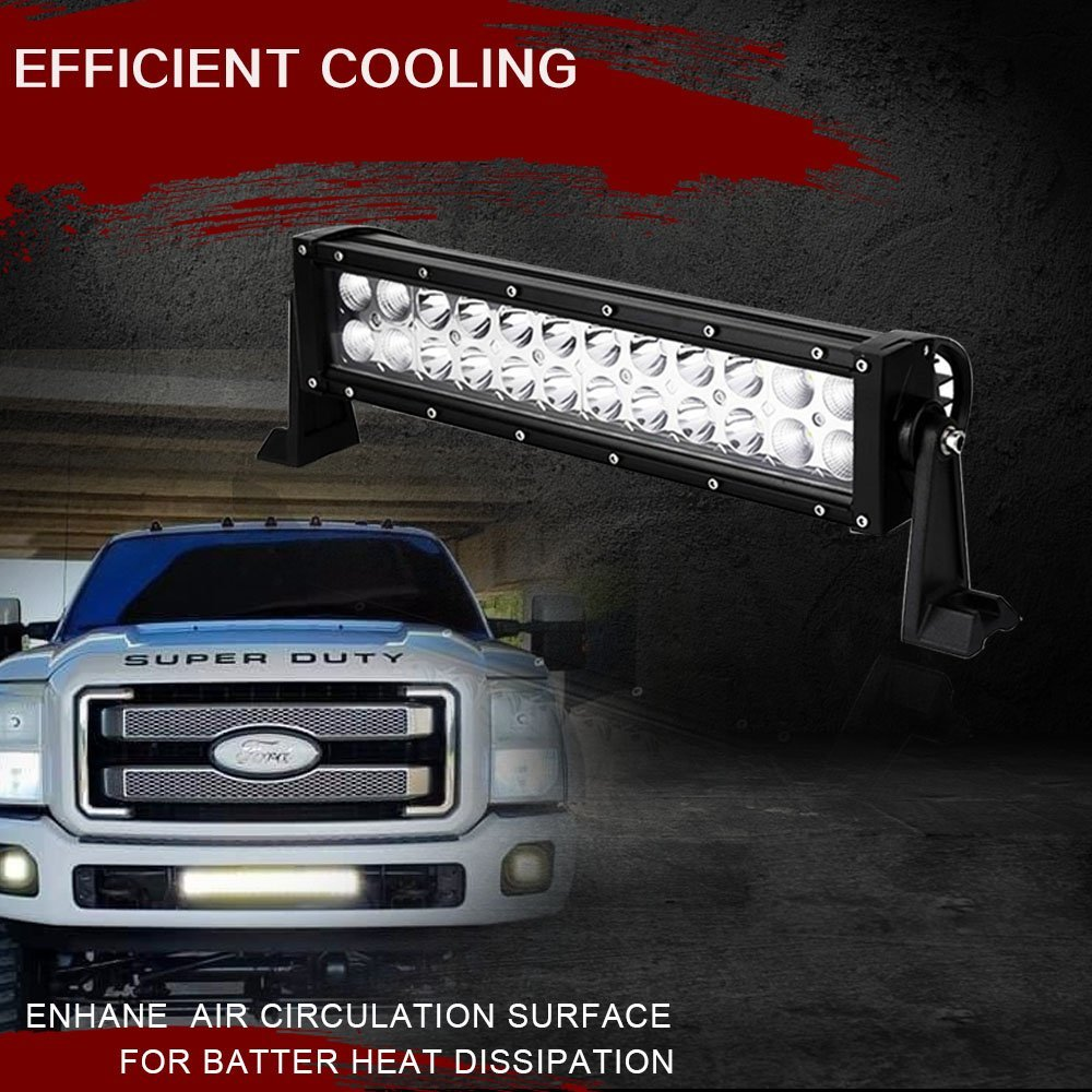 Reverse BackUp 12 Fog Light 72W Offroad Light Bar on Auxiliary Front Roof Rack Rear Bumper Grill