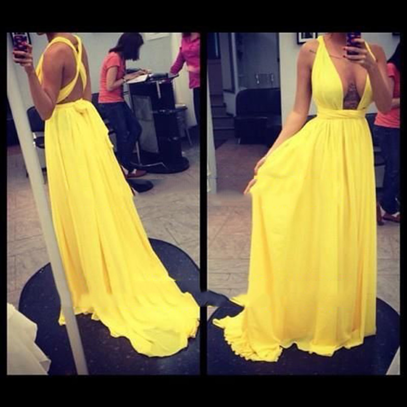 Custom Made Yellow Chiffon Ruffles Women Dress Sexy a Line v Neck Floor Length Celebrity Dresses New Fashion Real Picture
