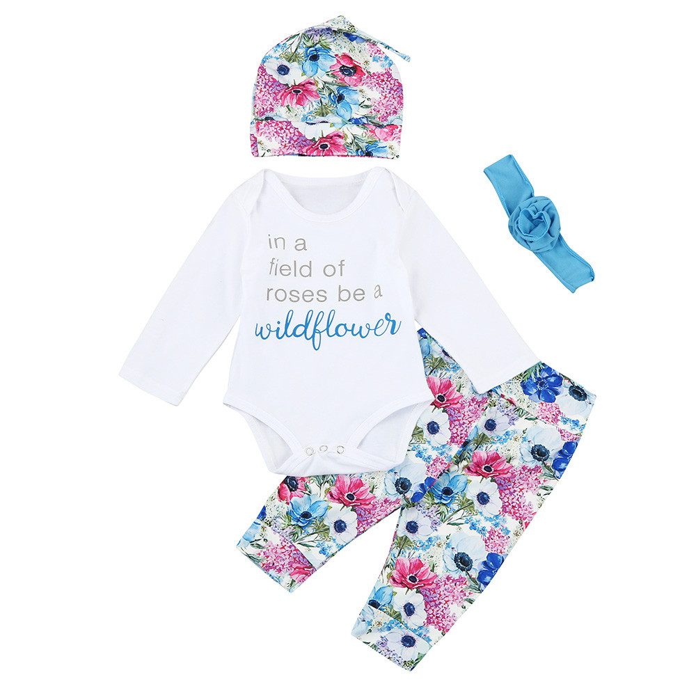 Младенческой новорожденных Обувь для мальчиков Обувь для девочек письмо футболка Брюки для девочек 4 шт. костюм комплект одежды 1 шт. Топы Ко... ...