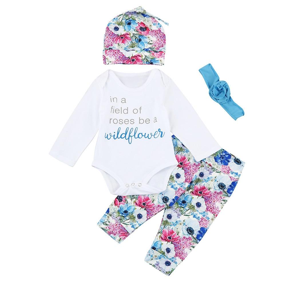 Infant Baby Newborn Boys Girls Letter Tops Shirt Pants 4Pcs Suit Outfits Clothes Set 1PC Tops+1PC Pants+1PC Heabands +1PC Cap #J ...