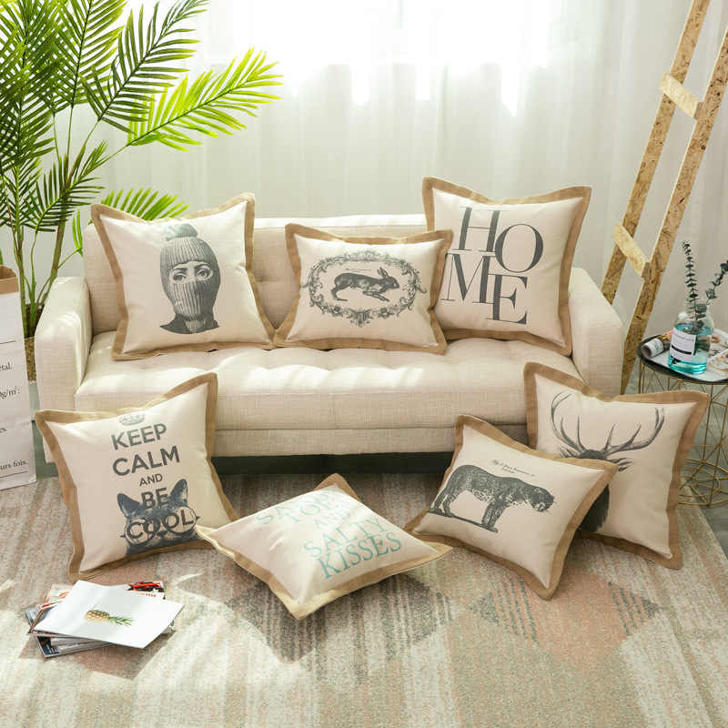 Vintage Cotton Linen Animals Cushion Cover Deer Cat Linen Side Pillow Case  For Sofa Seat Simple Home Decorative 50x50cm/40x50cm