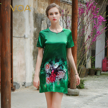 VOA 2020 Summer Chinese Style Silk Print Short Dress Fashion Short Sleeve Silky Comfort Women T-shirt Dress Vestidos
