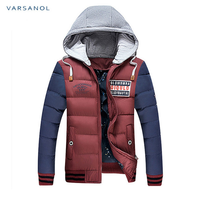Varsanol Winter Mens Jackets Casual New Hooded Thick Padded Men's parkas Jacket Coats Warm Zipper Slim Tops Outwear 3xl 3