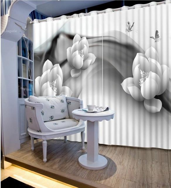 Europese Luxe Gordijn Verf Foto 3D Gordijnen Bloem zwart wit Keuken ...
