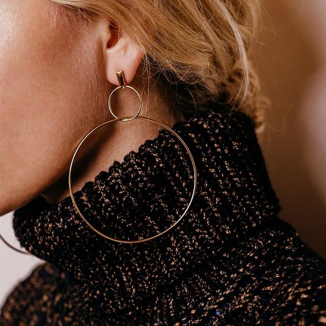 Hot Sale Fashion Big Hoop Earrings Double Round Circle Pendant Long Earrings  For Women Statement Jewelry 7ff6b4688e9d