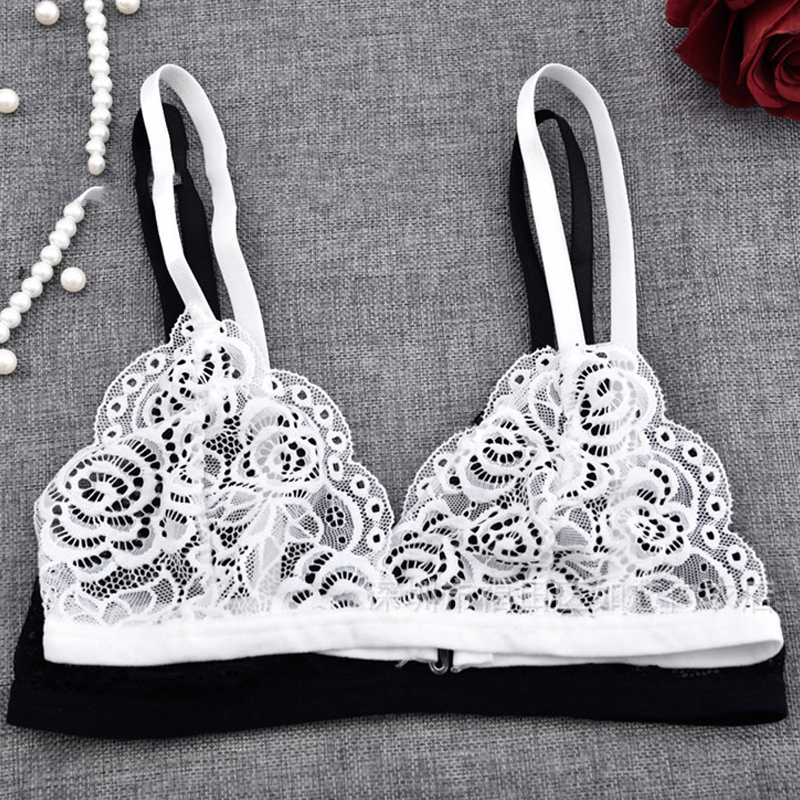 Deruilady Ultra Thin <font><b>Sexy</b></font> Lace Bras for Women Transparent Wireless Push Up Bra Unlined Comfort Underwear <font><b>Bralette</b></font> <font><b>Sexy</b></font> Lingerie image