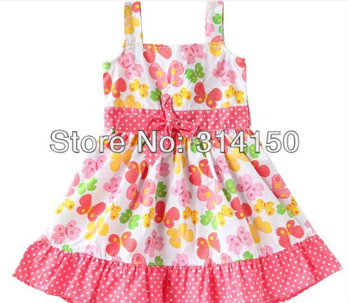 FREE SHIPPING Children Pretty Flowers Dress Girl S Summer Wear One Piece Dress Kid Cotton Bowknot