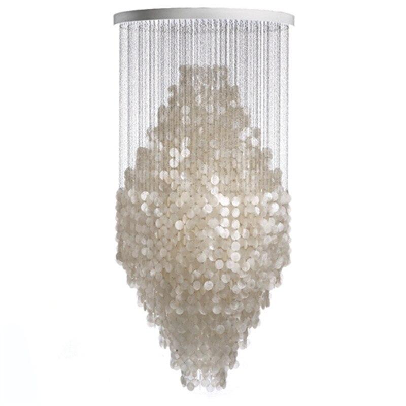 все цены на  Modern Nordic White Capiz Shell Chandeliers Lighting Lustre Pendant Lamps Restaurant Hanging Lamp Light Fixtures luminaire avize  в интернете