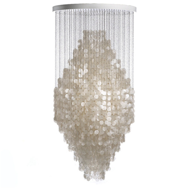 Modern White Capiz Shell Chandeliers Lighting Lustre Pendant Lamps  Restaurant Hanging Lamp Light Kithcen Fixture Luminaire Avize