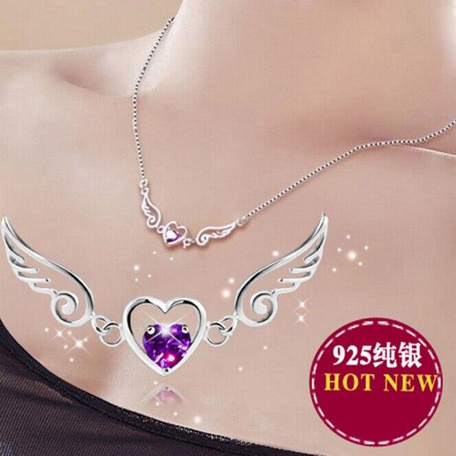 Anenjery Hot Sale Silver Jewelry Love Angel Wings Necklace Dream Love Heart Crystal Zircon Necklace Women Birthday Present S-N01