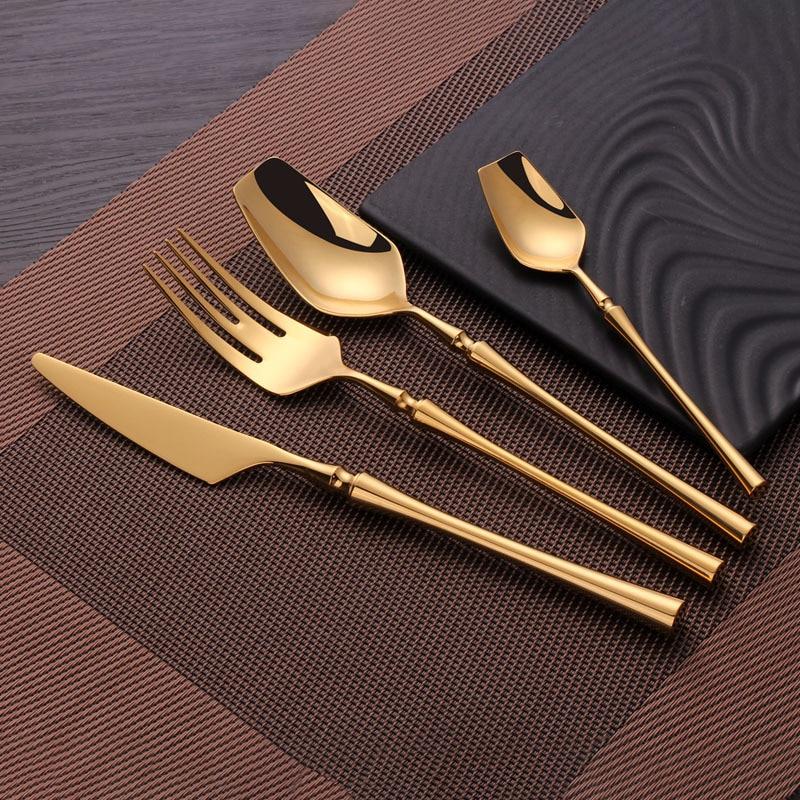24pcs/set Creative Gold Plated Stainless Steel Cutlery Set Flatware Set Dinner Knives Fork Spoon Set Dinnerware Tableware